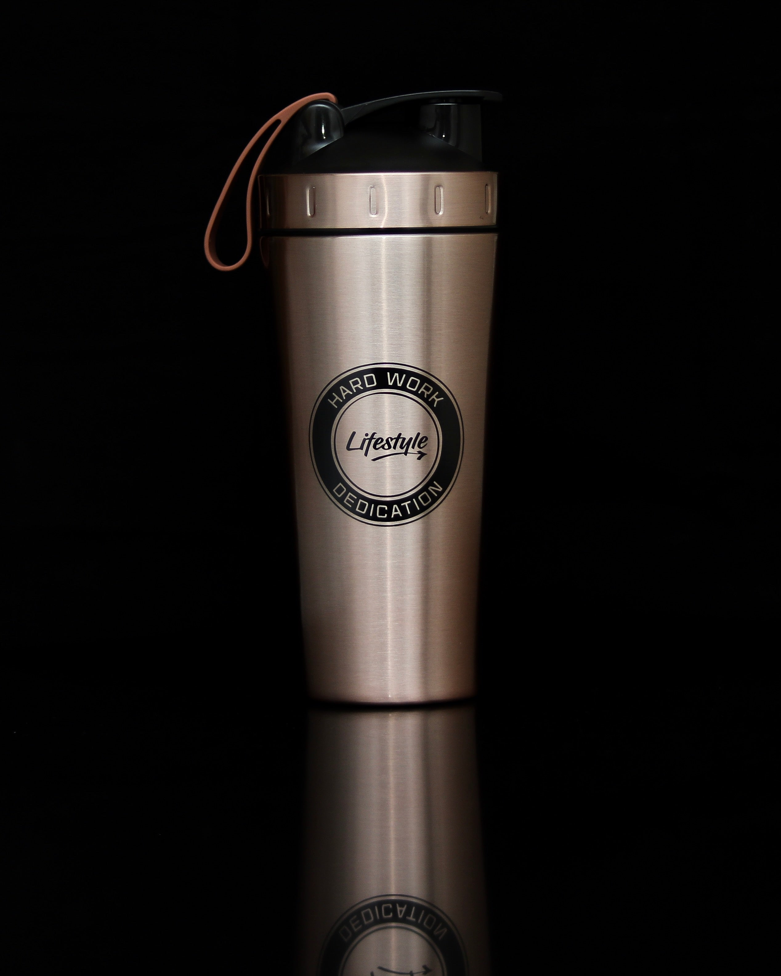Premium Steel Shaker Bottle - Rose Gold/Black Logo (New)