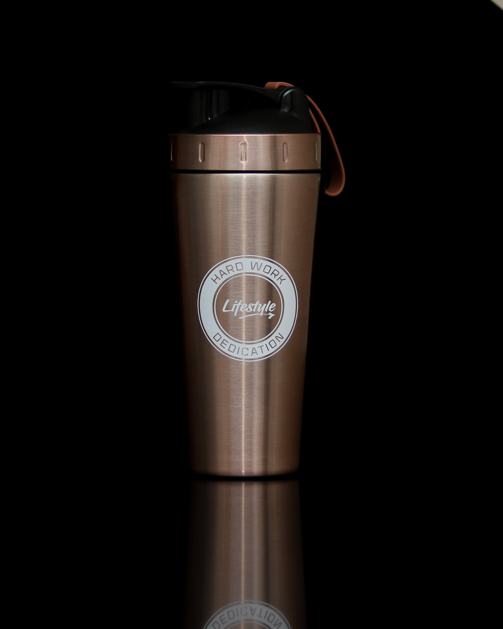 Premium Steel Shaker Bottle - Rose Gold/White Logo (New)