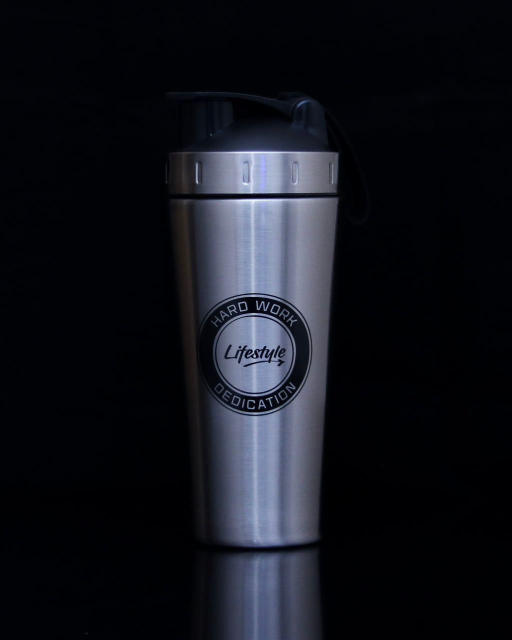 Premium Steel Shaker Bottle - Silver/Black Logo (New)