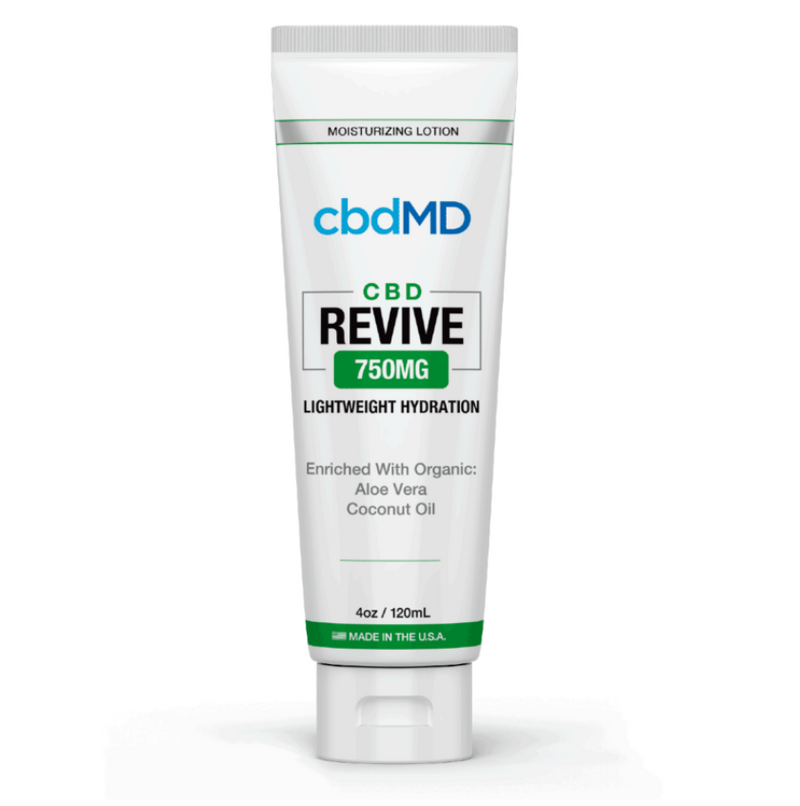 750mg Revive Moisturizing Topical 4oz by cbdMD - CBD vs THC, CBDistillery, Medterra, Elixinol, CBD Vape Juice