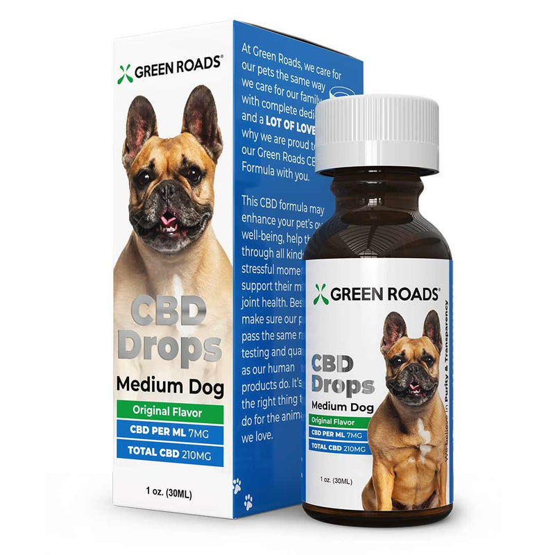 Medium Dog Pet Drops by Green Roads - CBD vs THC, CBDistillery, Medterra, Elixinol, CBD Vape Juice