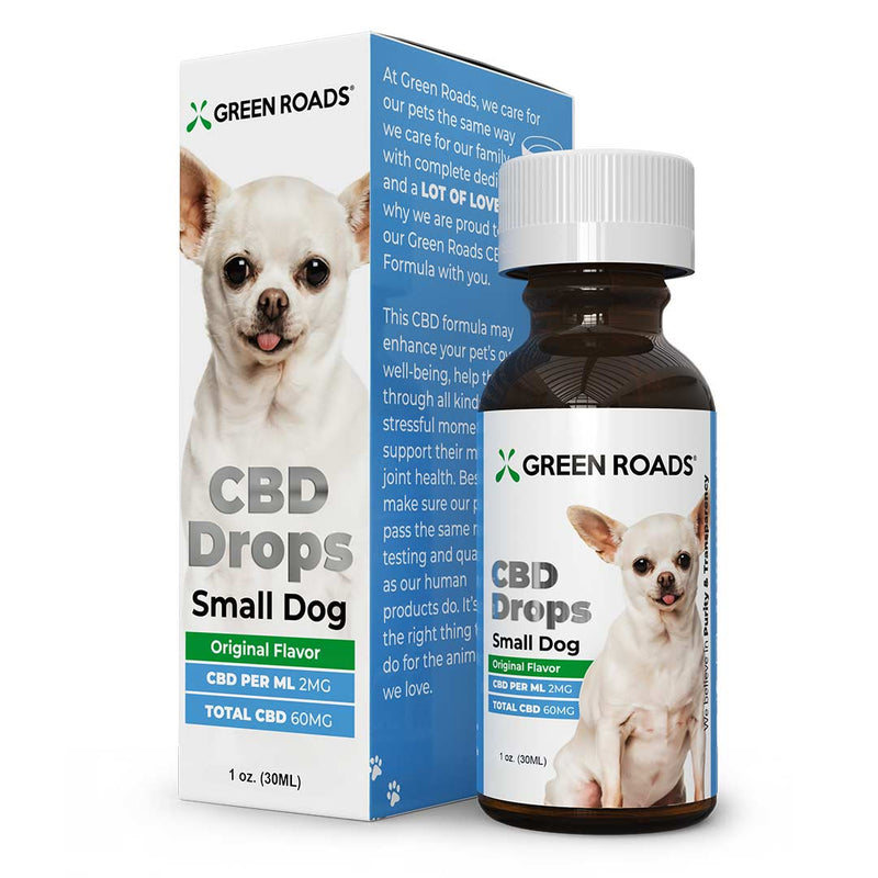 Small Dog Pet Drops by Green Roads - CBD vs THC, CBDistillery, Medterra, Elixinol, CBD Vape Juice