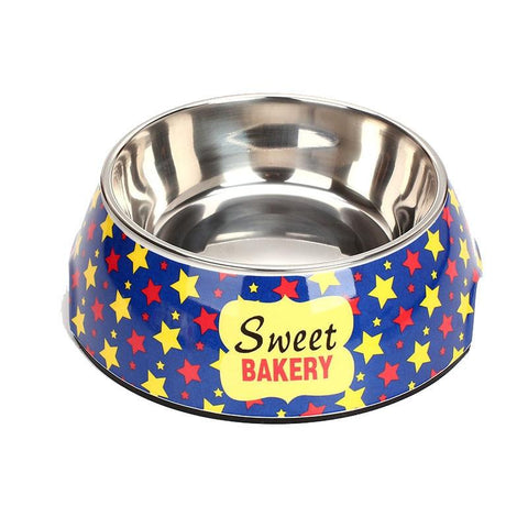 Image of Double Stainless Steel Cartoon Print Pet Feeding Bowl