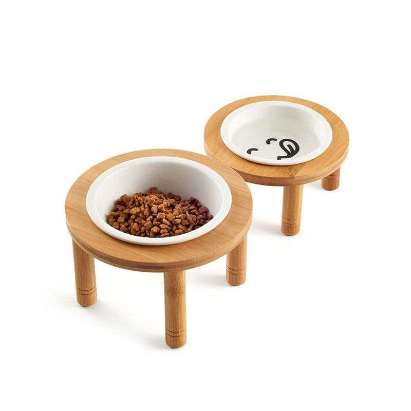 Bamboo Tableware Ceramic Pet Dog Food Bowl
