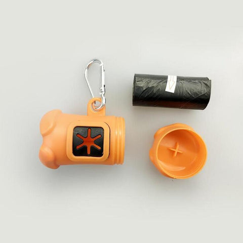 Clip-On Dog Poop Bag Container With Garbage Bags