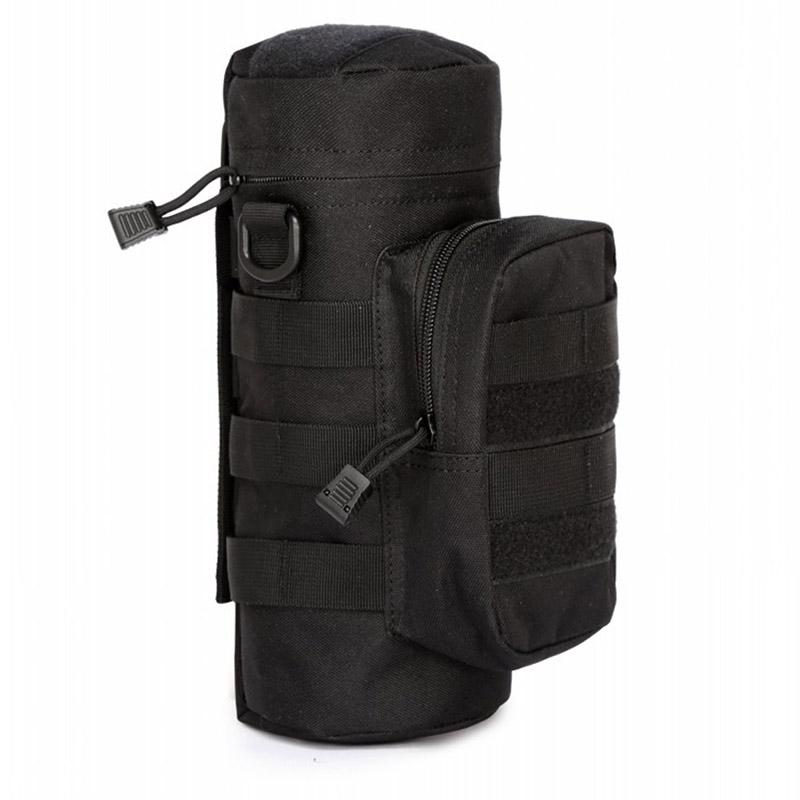 Tactical Military Backpack Outdoor Water Bottle Bag Zipper Pouch Kettle Holder