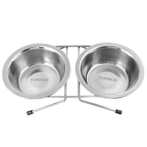 Image of Stainless Steel Pet Feeding Bowls With Stand