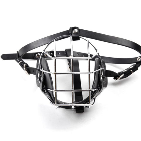 Image of Stainless Steel and Leather Dog Muzzle With Breathable Basket For Safety