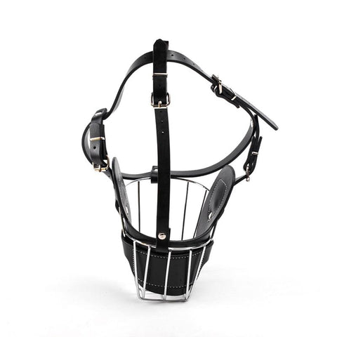Stainless Steel and Leather Dog Muzzle With Breathable Basket For Safety