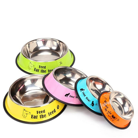 Image of Stainless Steel Cartoon Print Pet Dog Bowl