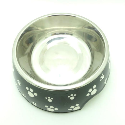 Detachable Stainless Steel Black Paw Print Pet Dog Bowl