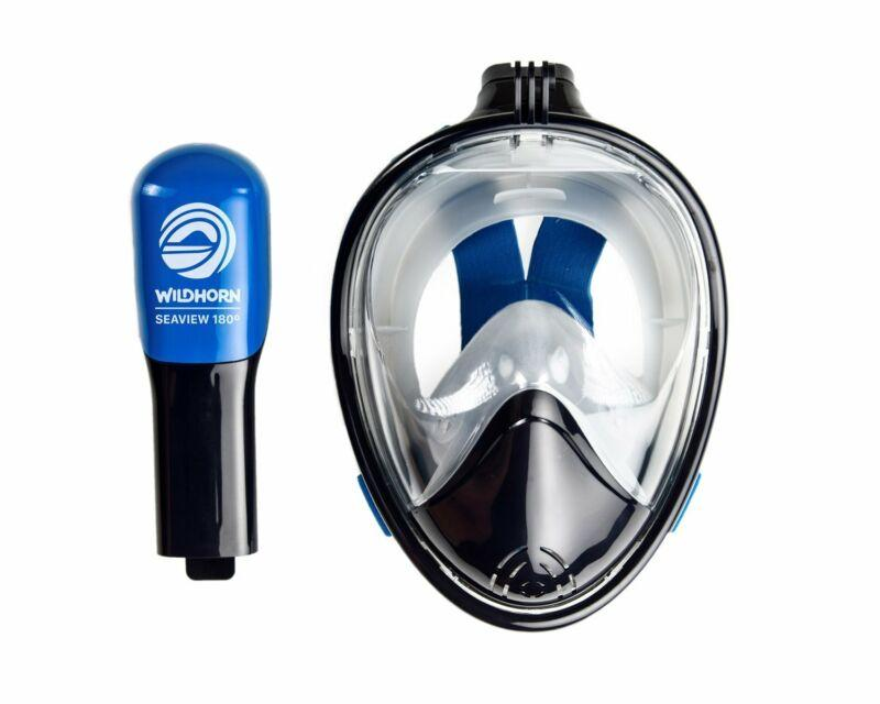 Wildhorn Seaview 180 Degree Large/XL Full Face Scuba Diving Snorkel Mask, Navy