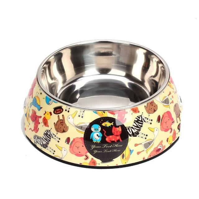 Double Stainless Steel Cartoon Print Pet Feeding Bowl