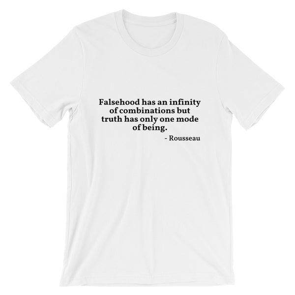 "Rousseau Quote ""Falsehood And Truth"" Philosophy Short-Sleeve Unisex T-Shirt"