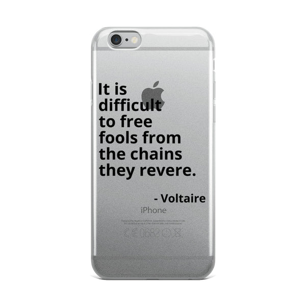 "Voltaire Quote ""Difficult to Free"" Philosophy iPhone Case"