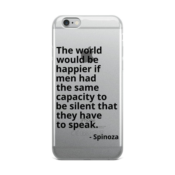 "Spinoza Quote ""A Happier World"" Philosophy iPhone Case"