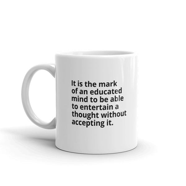 "Aristotle Quote ""Educated Mind"" Philosophy Coffee Mug"