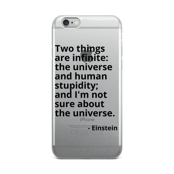 "Einstein Quote ""Human Stupidity"" Philosophy iPhone Case"