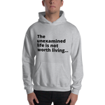 "Socrates Quote ""The Unexamined Life"" Big Print Hooded Sweatshirt"