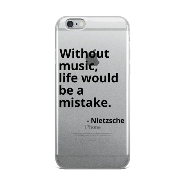 "Nietzsche Quote ""Without Music"" Philosophy iPhone Case"