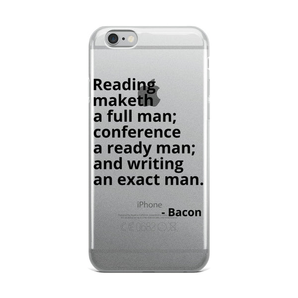 "Bacon Quotes ""Reading Maketh"" Philosophy iPhone Case"