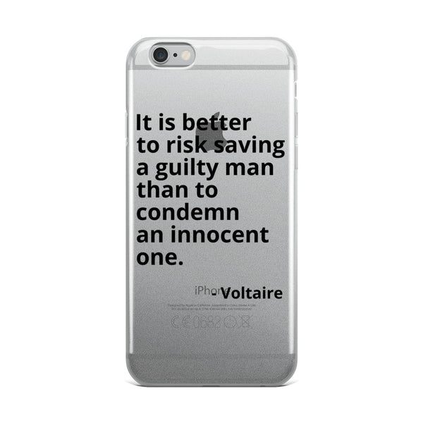 "Voltaire Quote ""Better To Risk"" Philosophy iPhone Case"