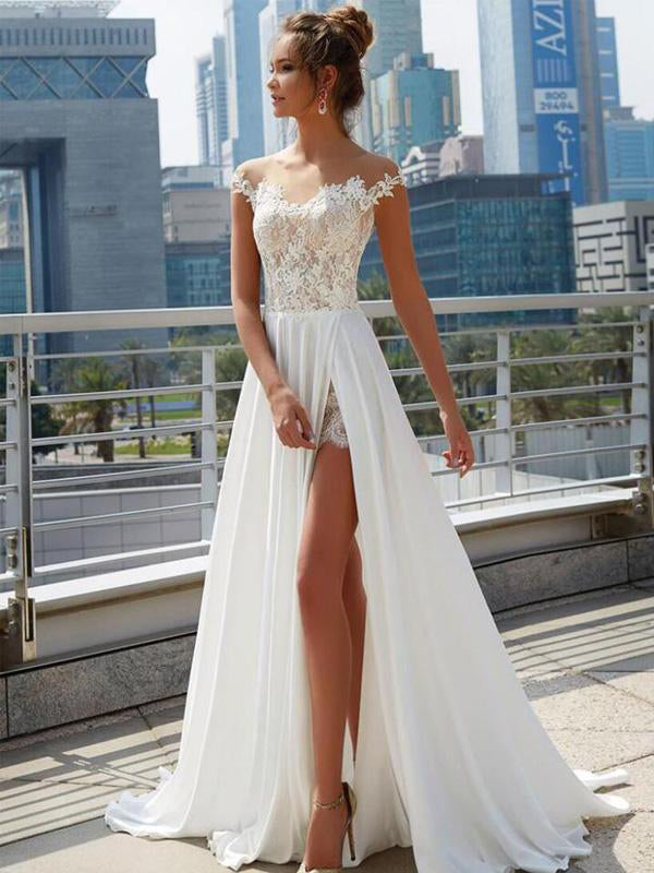 Off The Shoulder Split Side See Through Lace Maxi Dress