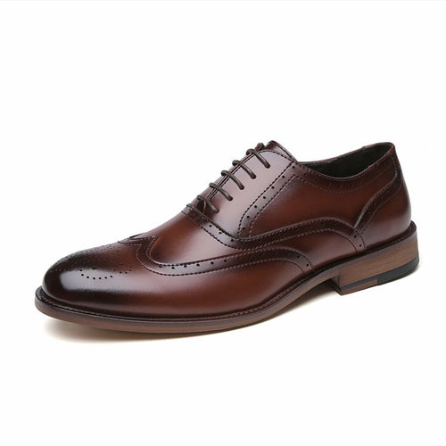 Men Classic Brogue Lace Up Oxfords Business Formal Dress Shoes