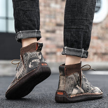 Load image into Gallery viewer, Men Hand Stitching Leather Non Slip Elastic Panels Soft Sole Casual Ankle Boots