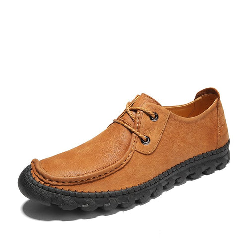 Men Cow Leather Hand Stitching Comfort Soft Casual Shoes