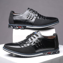 Load image into Gallery viewer, Men Genuine Leather Stitching Slip On Metal Decoration Casual Shoes