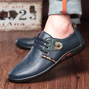 Men Lace Up  Flat Casual Leather Shoes