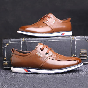 Men Soft Cow Leather Wear-resistant Lace Up Casual Shoes