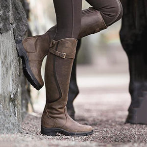 Women Leather Low Heel Daily Boots