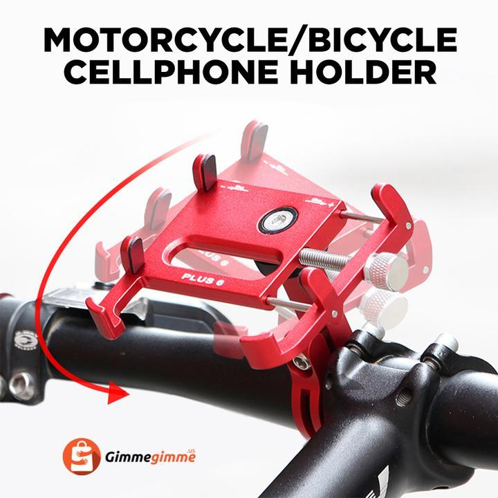 "GUB Bicycle & Motorcycle Phone Mount Universal Handlebar Clip Stand, Aluminum Alloy Bike Phone Holder with 360°Rotation Adjustable for 3.5"" to 7.5"" Smartphones GPS iPhone x XR XS 7S 8 Plus, Samsung S7/S6"