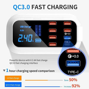 8-Port USB 3.0 Hub Charging Station Multi USB Desktop Hub Tower Quick Charge 3.0 Charger Led Display