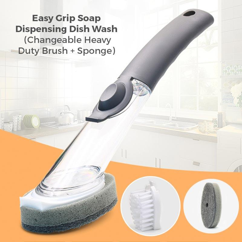 Easy Grip Soap Dispensing Dish Wash (Changeable Heavy Duty Brush + Sponge)