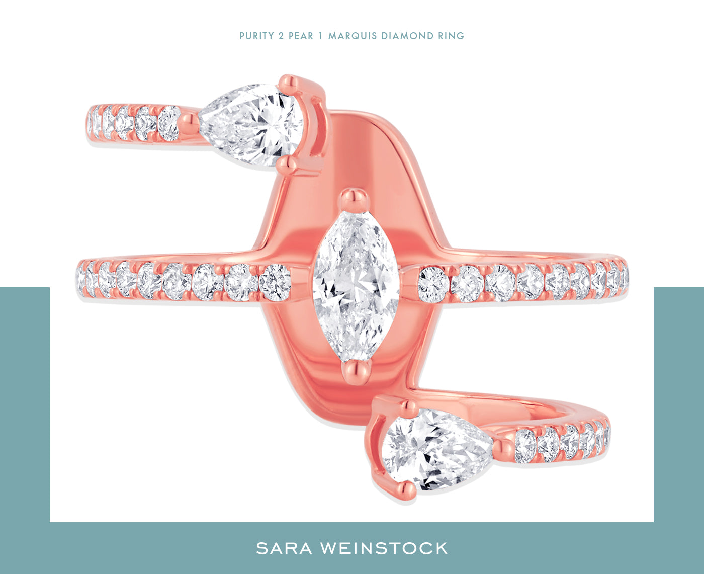 Purity 2 Pear 1 Marquis Diamond Ring - Sara Weinstock