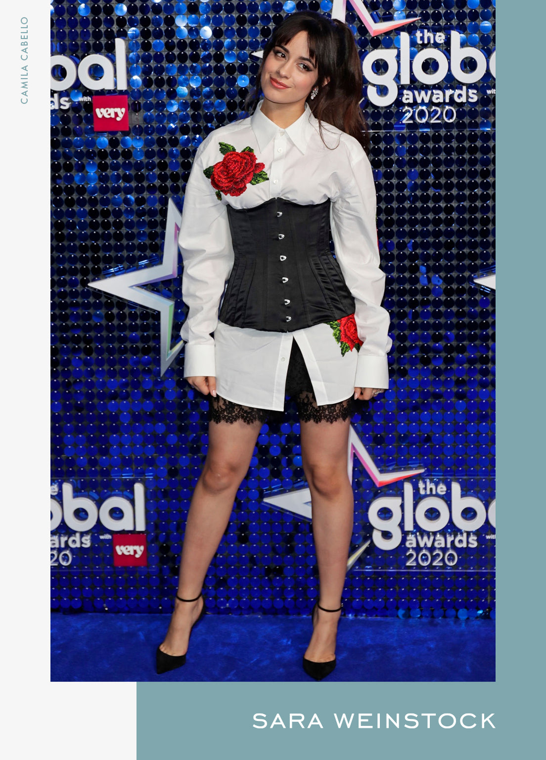 Camila Cabello attended The Global Awards 2020 in London, wearing Reverie Couture Earrings and a WG Donna Pave Ring