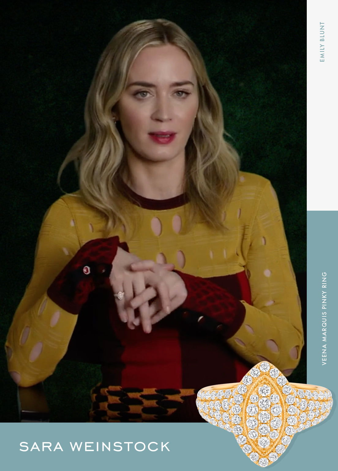 "Emily Blunt promoted ""A Quiet Place Part II"" in a released interview, wearing a YG Veena Marquis Pinky Ring"
