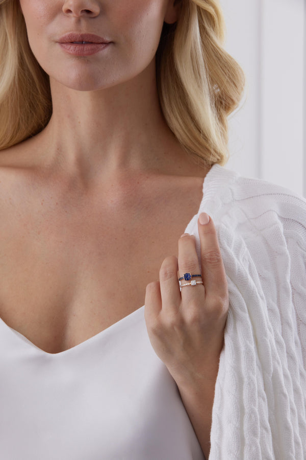 Adira Sapphire Cushion Cluster Stacking Ring