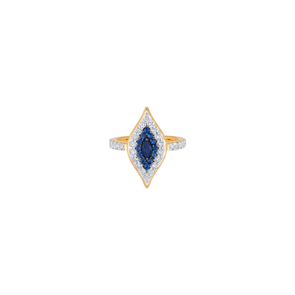 Donna Large Blue Sapphire Ring - Sara Weinstock Fine Jewelry