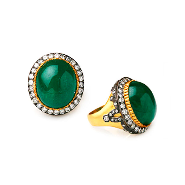 SW Archive Medium Oval Emerald & Diamond Statement Ring - Sara Weinstock Fine Jewelry