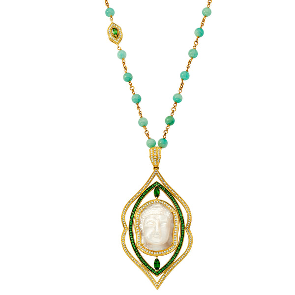 SW Archive Tsavorite & White Diamond Mother of Pearl Beaded Buddha Pendant - Sara Weinstock Fine Jewelry