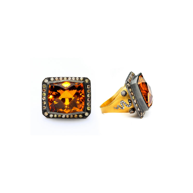 SW Archive Citrine Serpent Statement Ring - Sara Weinstock Fine Jewelry