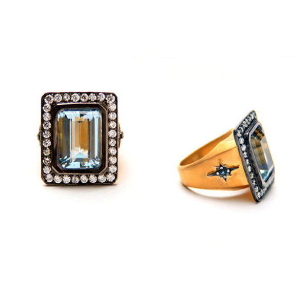 SW Archive Aquamarine Starburst Statement Ring - Sara Weinstock Fine Jewelry