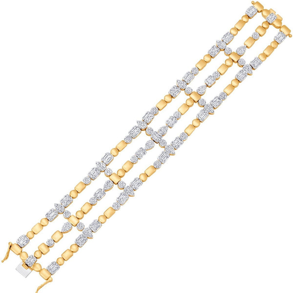 Shop 18k Gold and Diamond Jewelry Statement Bracelets | Illusion Multi Cluster 3 Row Statement Bracelet | Yellow Gold | Sara Weinstock Fine Jewelry
