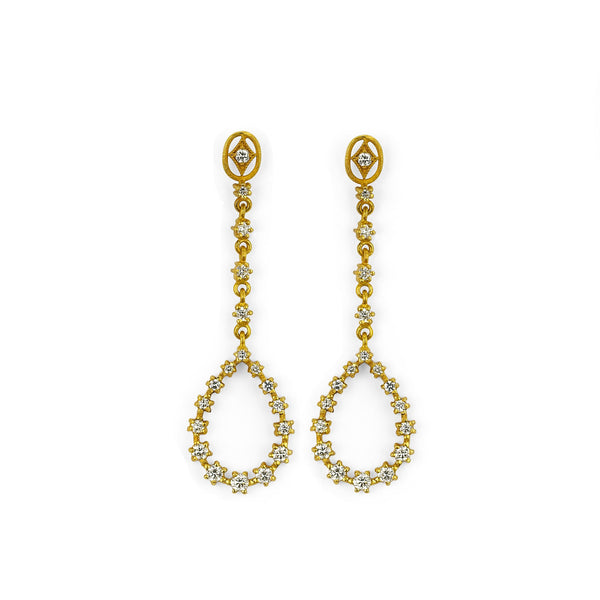Katie Elongated Earrings-Earrings-Sara Weinstock Fine Jewelry