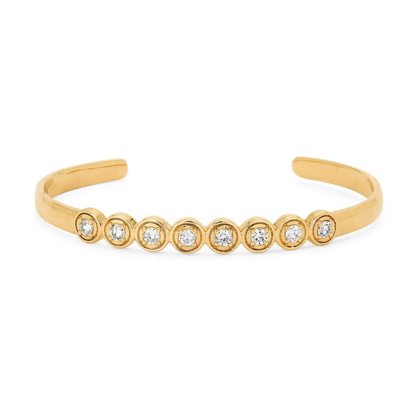Round Bezel Bangle Cuff | Shop 18k Gold and Diamond Jewelry Bracelets | Yellow Gold | Sara Weinstock Fine Jewelry