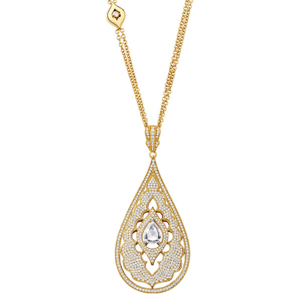 Veena Pear Pendant-Necklaces-Sara Weinstock Fine Jewelry